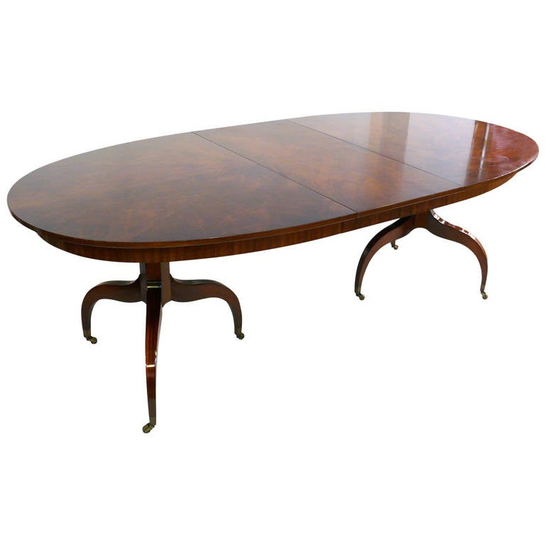 Custom Double Pedestal Mahogany Dining Table At 1stdibs