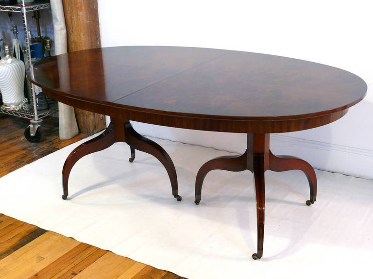 this custom double pedestal mahogany dining table is no longer