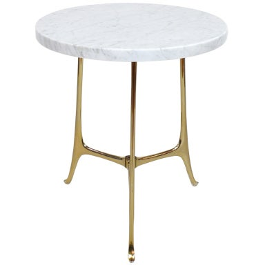 Elegant Ponti Style Marble and Brass Side Table
