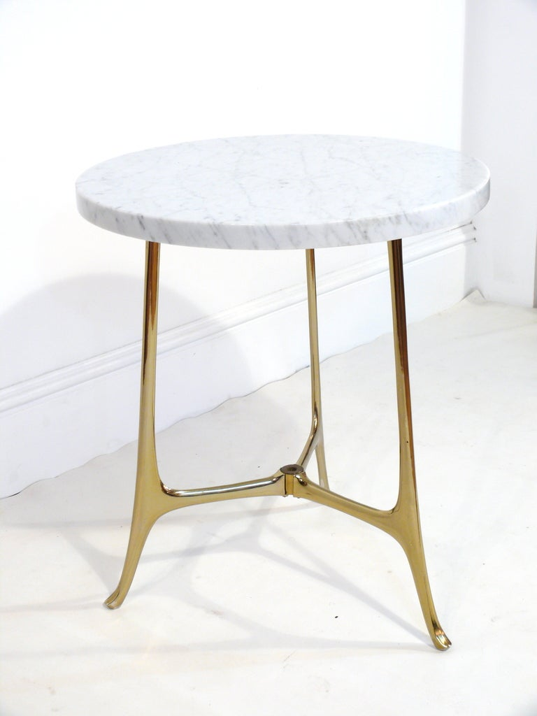 Elegant Ponti Style Marble and Brass Side Table 2