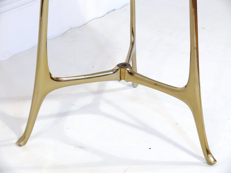 Elegant Ponti Style Marble and Brass Side Table 3
