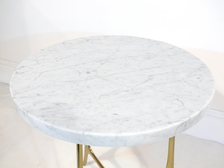Elegant Ponti Style Marble and Brass Side Table 4