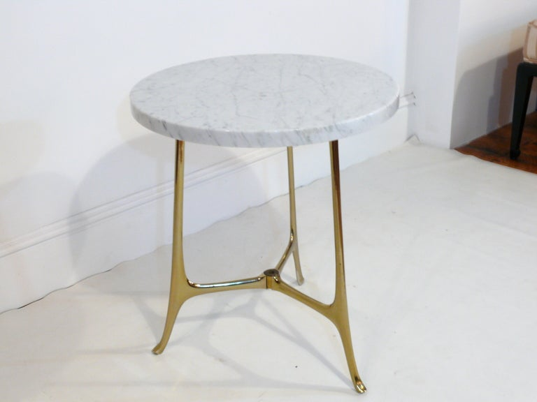 Elegant Ponti Style Marble and Brass Side Table 7