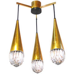 Ice Glass Three-Light Hanging Fixture by Kaiser