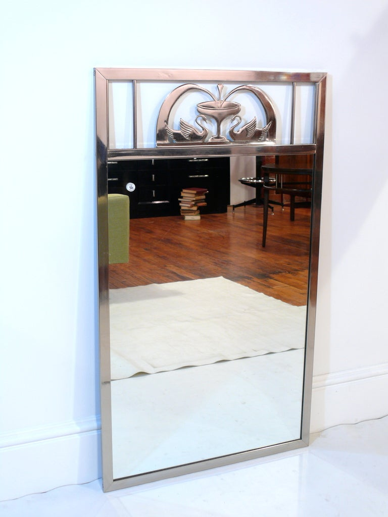 American Art Nouveau Swan Mirror For Sale