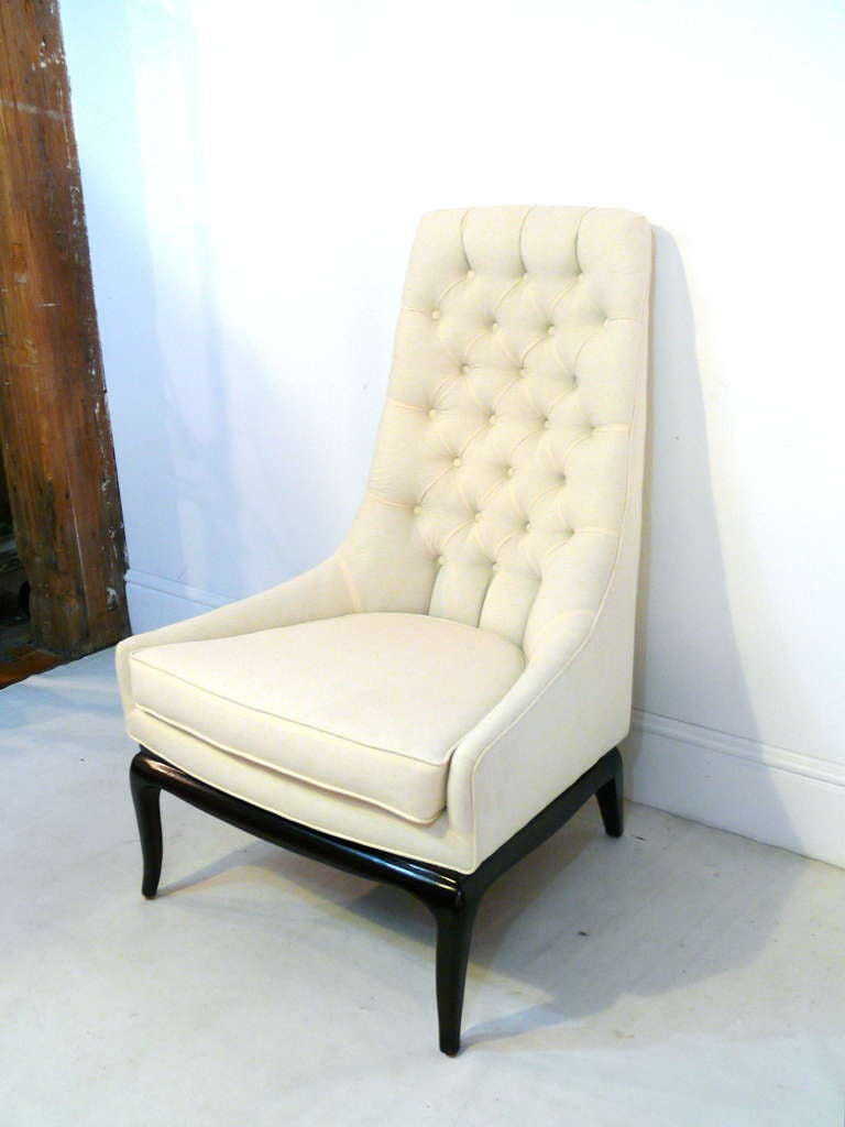 Pair Of Tufted High Back Lounge Chairs At 1stdibs