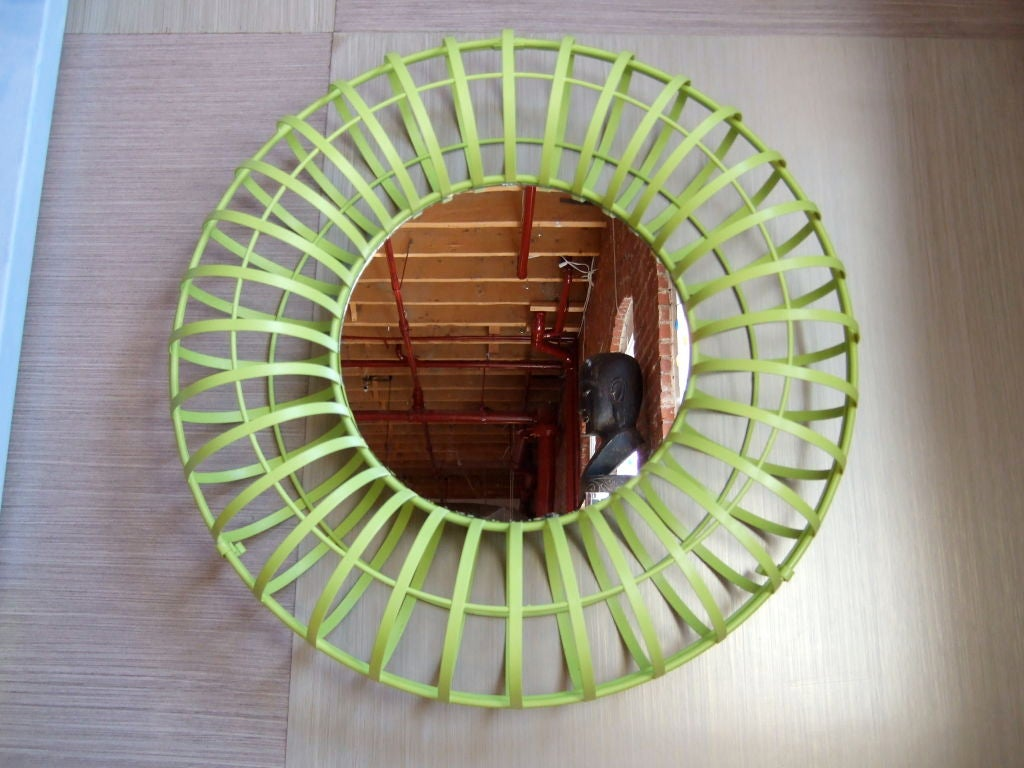 Colorful green cage frames a small round wall mirror.  Cage opens up so you can even make this more crazy and fun.  Mirror is 10