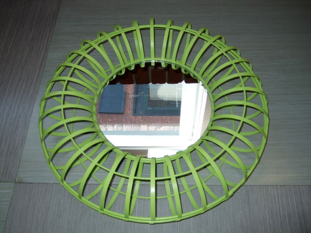 American Round Lime Green Mirror For Sale