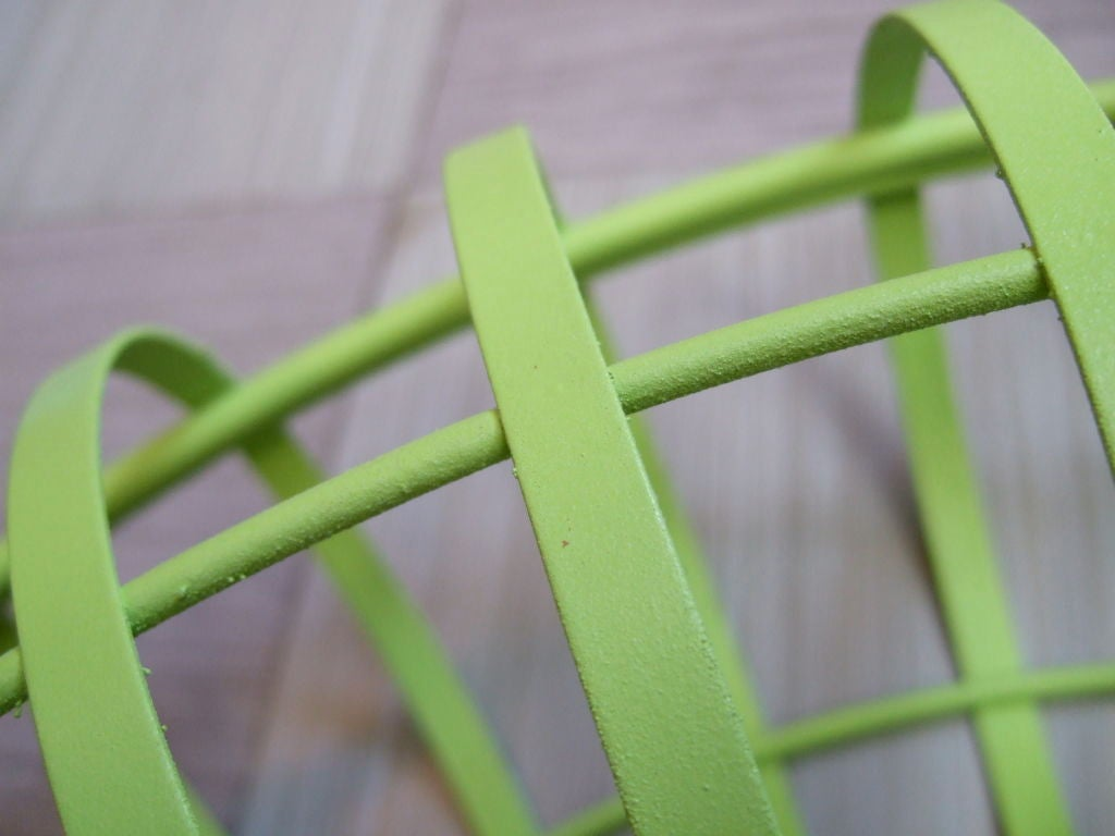 Metal Round Lime Green Mirror For Sale