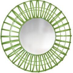 Round Lime Green Mirror