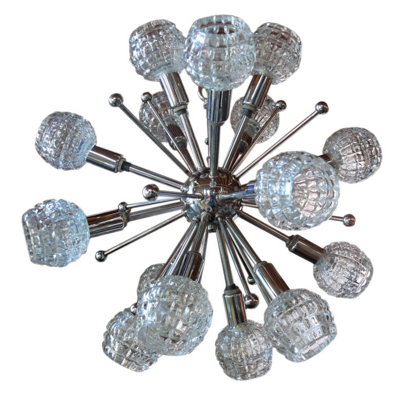 Italian Chrome and Cut Glass Sputnik Chandelier