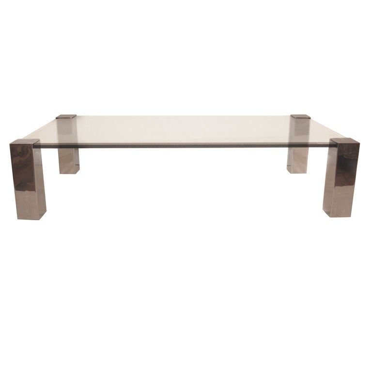 Chrome and Glass Coffee Table at 1stdibs