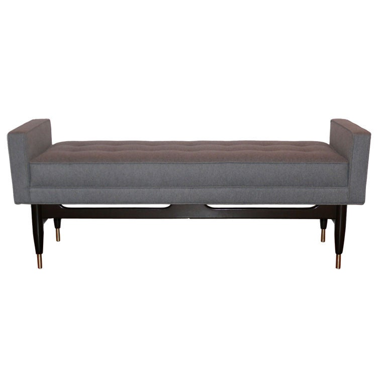 Grey Flannel Mid Century Bench With Arms At 1stdibs