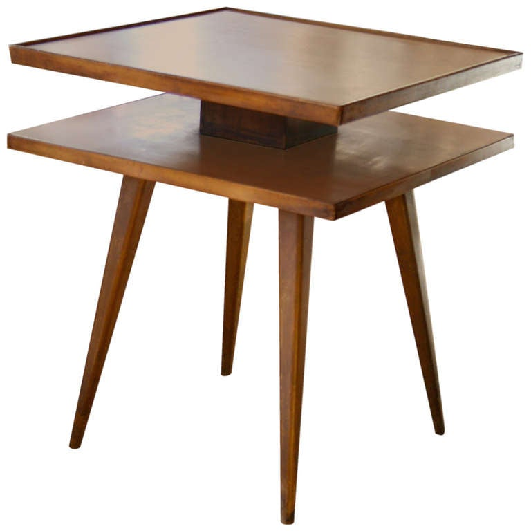 Rare jo carlssons sweden two tiered side table at 1stdibs for Tinning table model