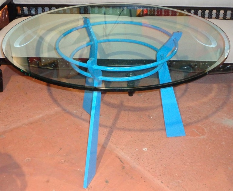 French blue solid steel round table with thick glass top for 13 inch round glass table top