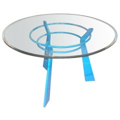French Blue Solid Steel Round Table With Thick Glass Top