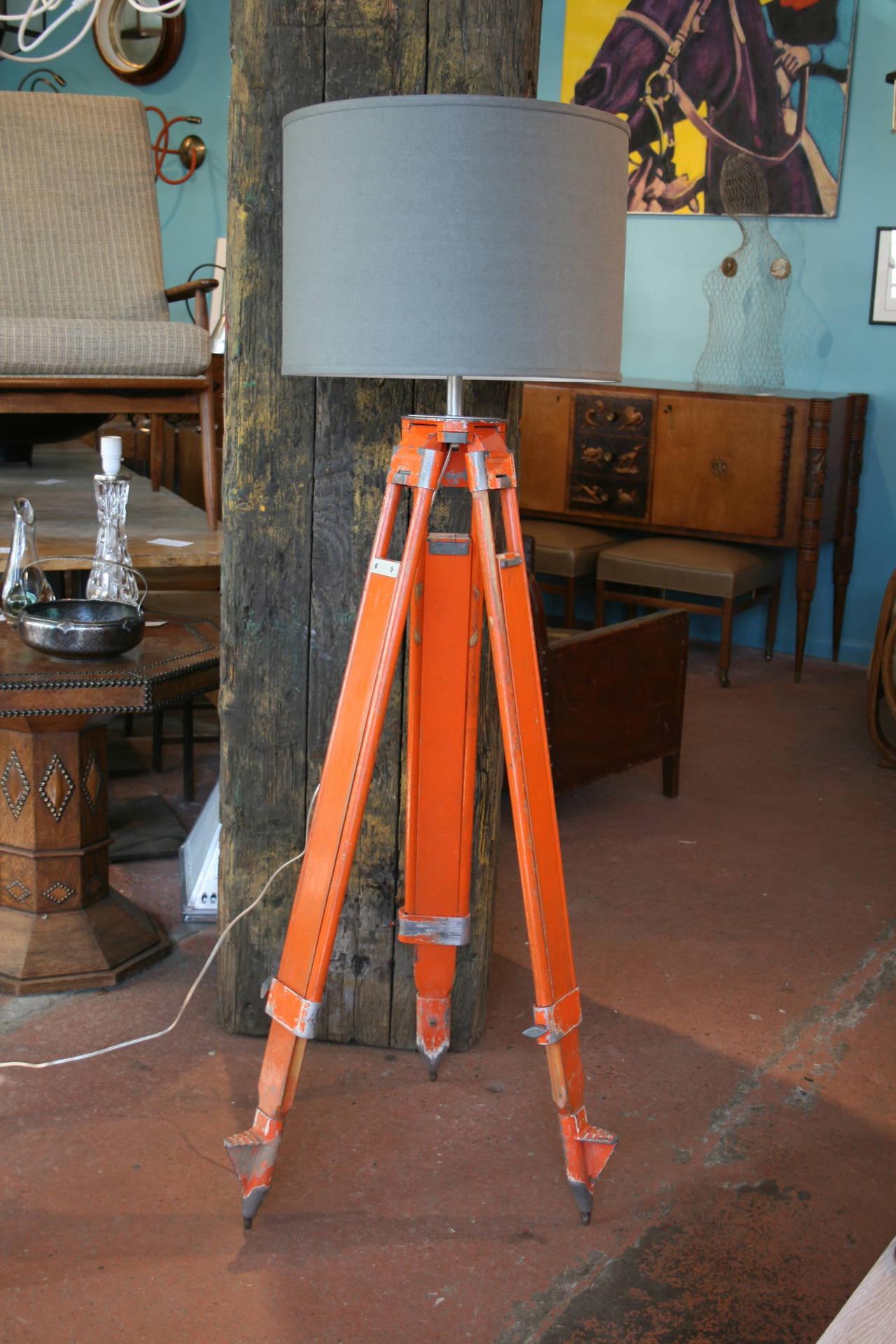 Pair Of Wood And Aluminum Chicago Surveyor Tripod Floor
