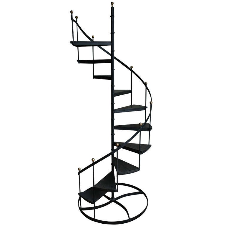 Wood And Iron Spiral Staircase At 1stdibs