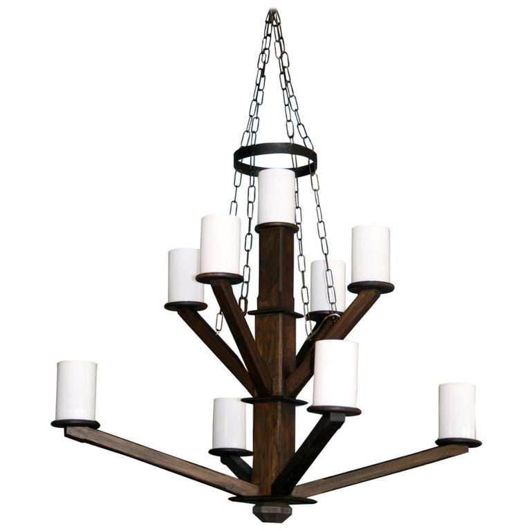Large Custom Wood Chandelier with Glass Cylinder Shades For Sale