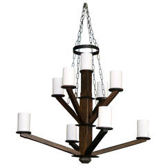 Large Custom Wood Chandelier with Glass Cylinder Shades
