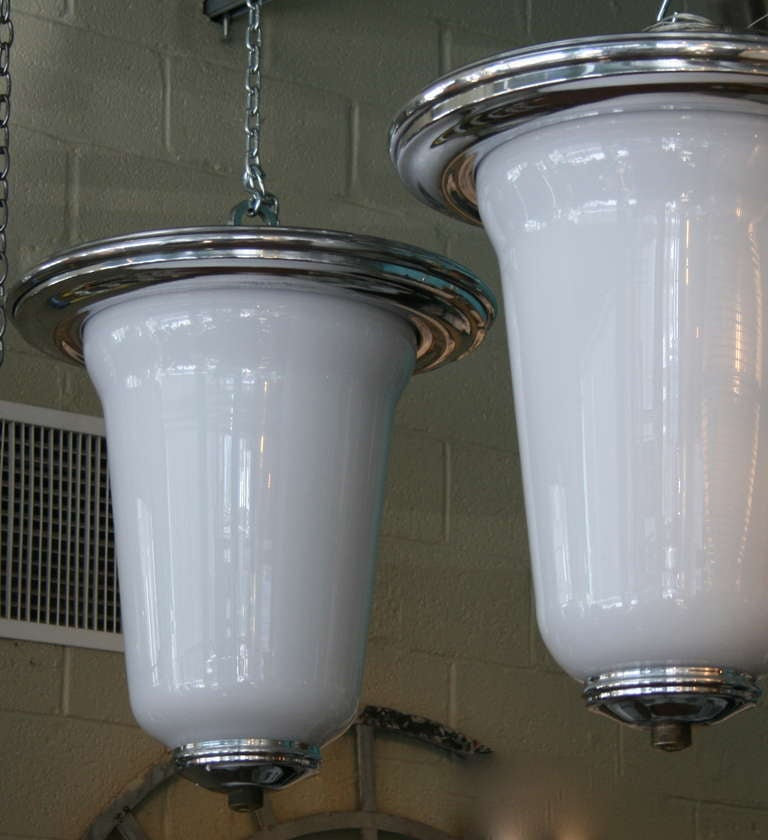Large Polished Aluminum and Milk Glass Pendant Lights 3