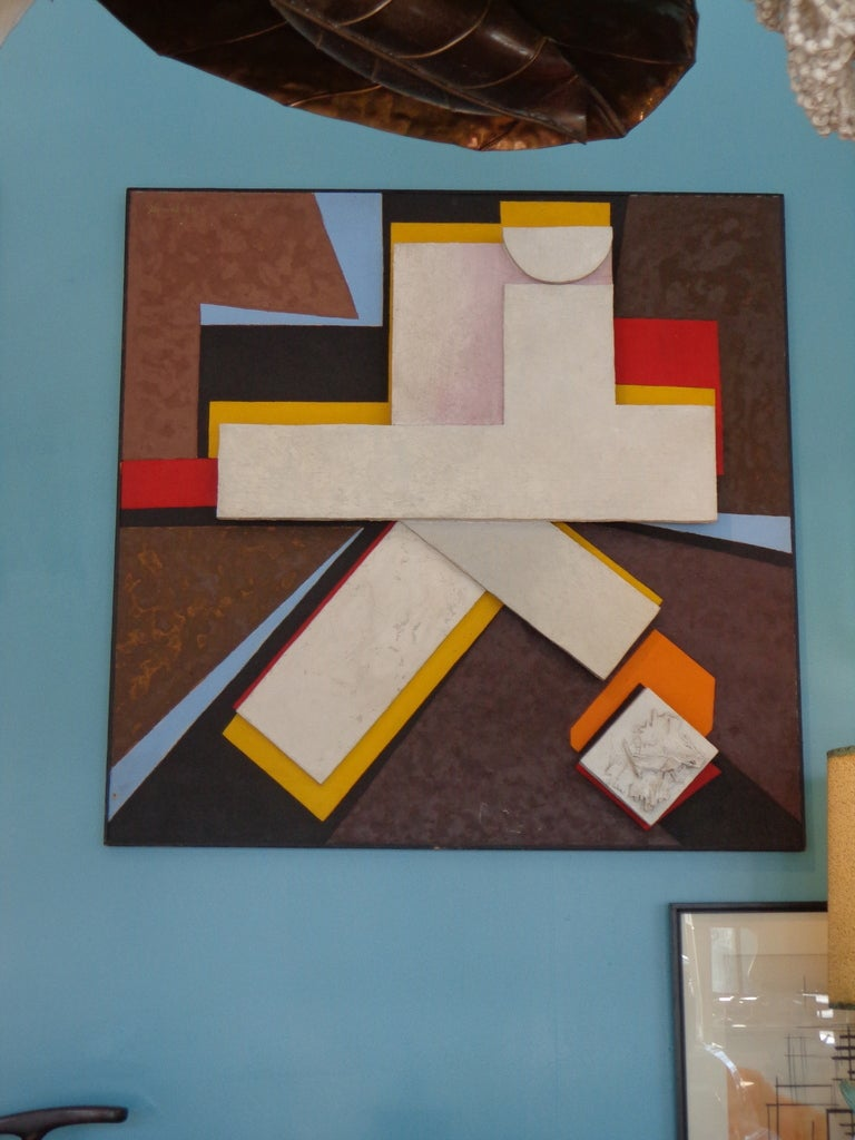 American Large Scale Modernist Collage Signed Gerard For Sale