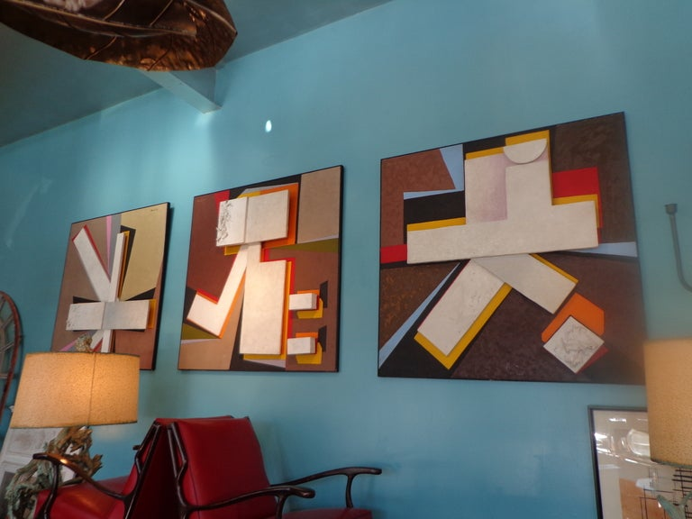 One of three monumental works, framed mixed media collages, oil on canvas, wood, plaster. each one signed Gerard '66, upper right or left.