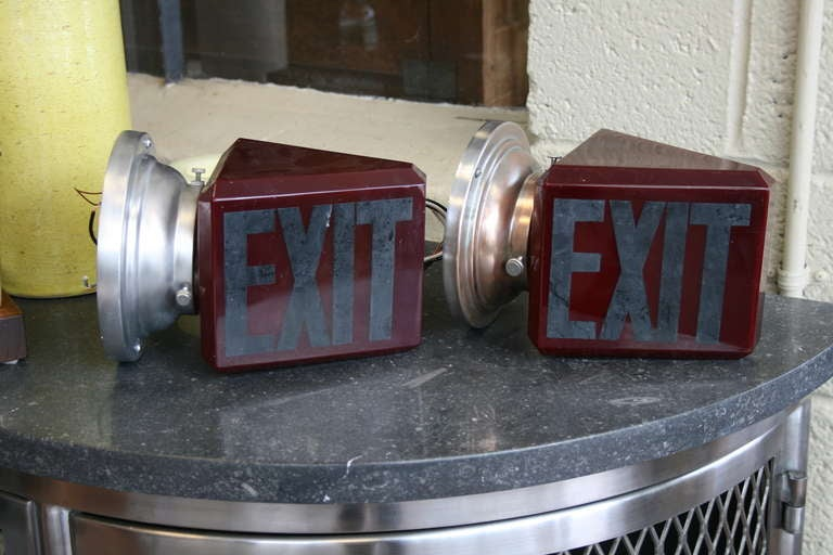 Art Deco Ruby Glass Double-Sided Exit Sign Sconces at 1stdibs
