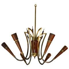 Elegant Italian Wood and Brass Chandelier