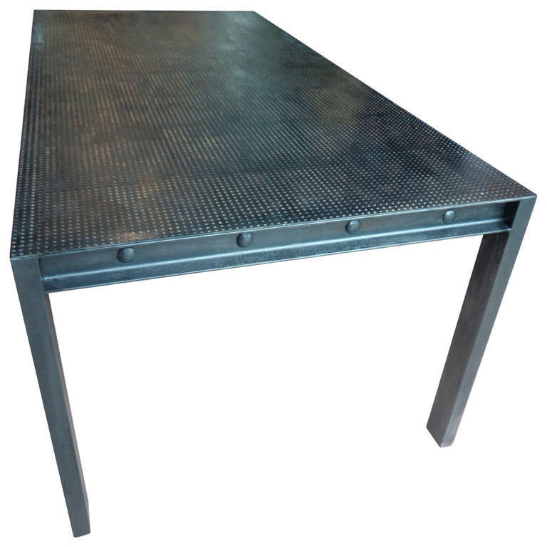 Steel parsons dining table with perforated metal top at 1stdibs - Steel kitchen tables ...