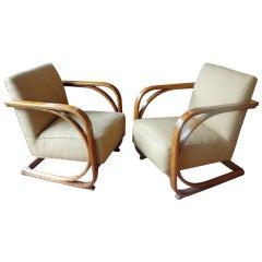 Unusual Bentwood Oak Sofa and Chairs
