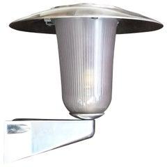 French Polished Aluminum and Holophane Glass Sconces