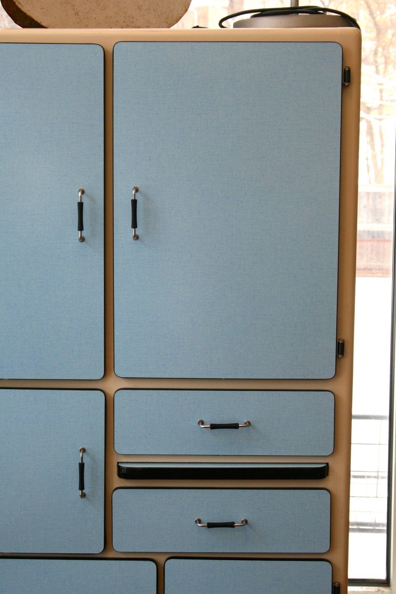 1950s French Kitchenette Ten-Door Cabinet at 1stdibs