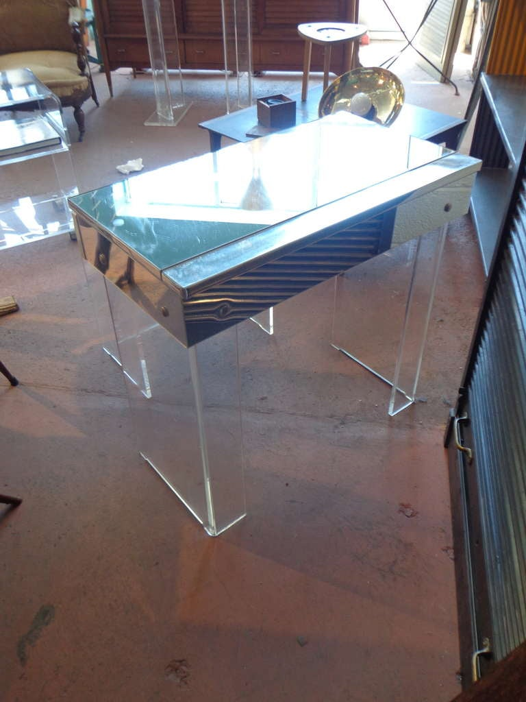 Mirrored Lucite Dressing Table With Bench At 1stdibs