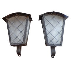 Large French Zinc Wall Lights With Glass Panels
