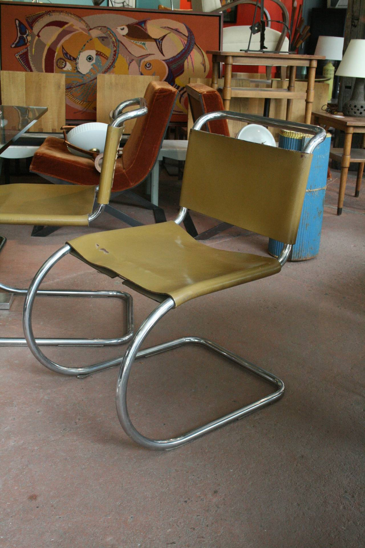 Set Of Six Mr Lounge Chairs By Mies Van Der Rohe At 1stdibs