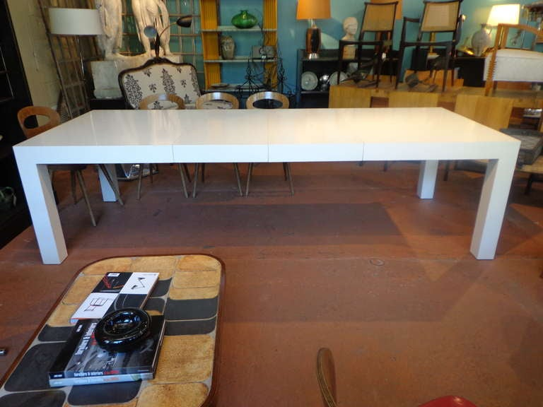 Substantial White Parsons Dining Table At 1stdibs