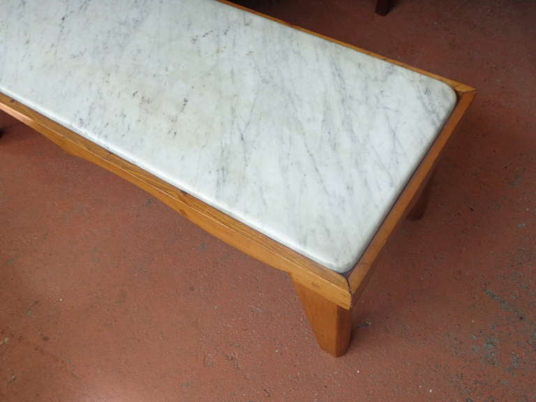 7ft Long Marble And Wood Coffee Table Or Bench At 1stdibs