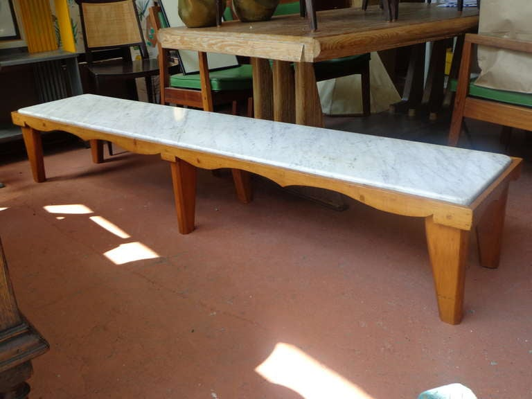 7ft Long Marble And Wood Coffee Table Or Bench 3