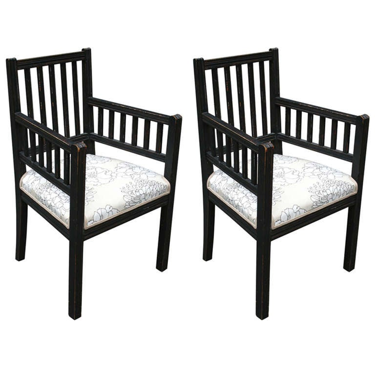 Pair of Slatted Painted Armchairs With Upholstered Seat