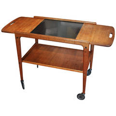 Danish Teak Serving Cart by Kindt-Larsen