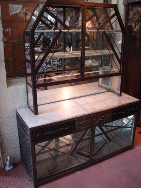 Art deco fer forge mirrored cabinet at 1stdibs for Deco fer forge mural