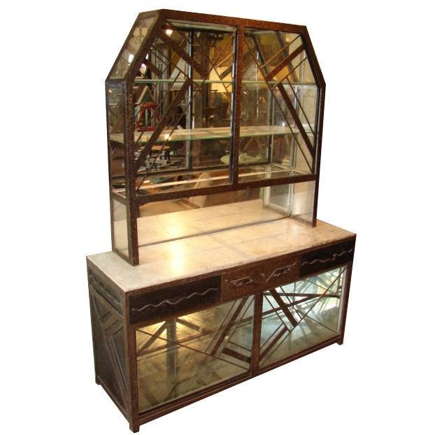 art deco fer forge mirrored cabinet at 1stdibs. Black Bedroom Furniture Sets. Home Design Ideas