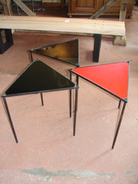 Set of 3 stackable triangle tables at 1stdibs for Small stackable coffee tables