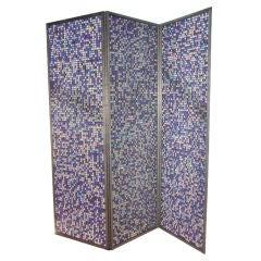 Three panel aluminium screen with glass marbles