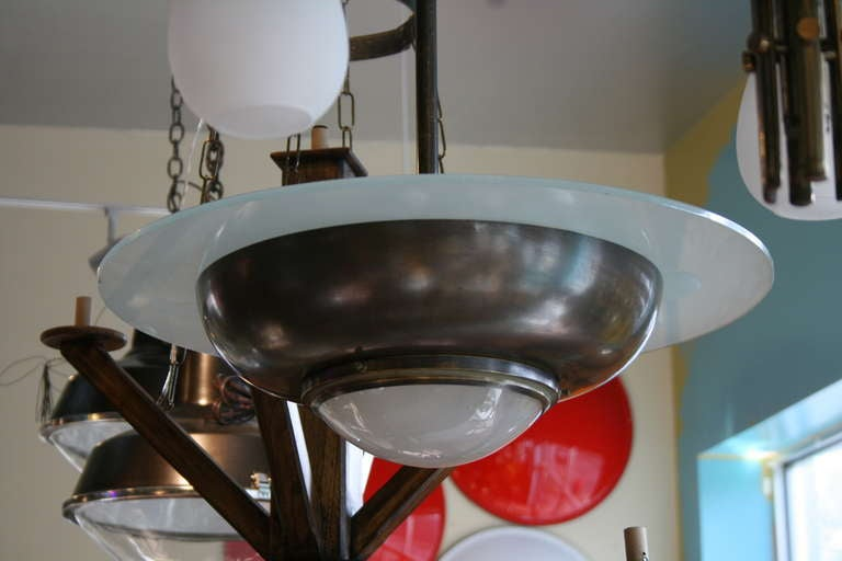 French Art Deco Bronze and Glass Pendant Chandelier 5