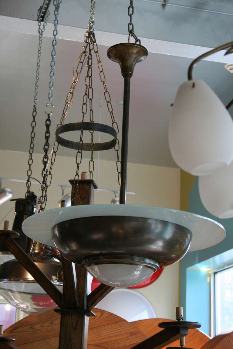 French Art Deco Bronze and Glass Pendant Chandelier 4