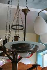 French Art Deco Bronze and Glass Pendant Chandelier image 4