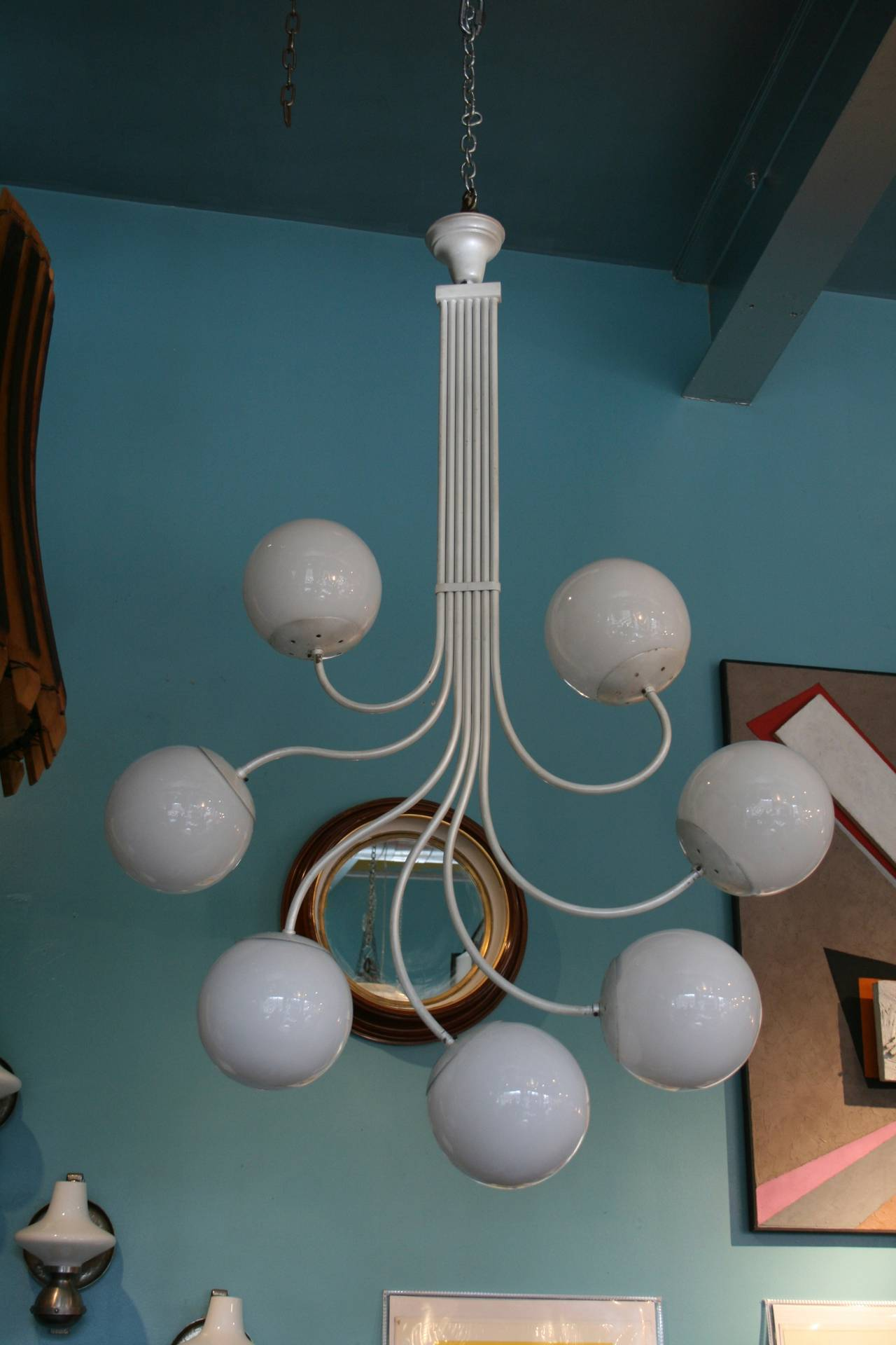 Mid-20th Century Italian Glass Sphere Chandelier by Gino Sarfatti For Sale