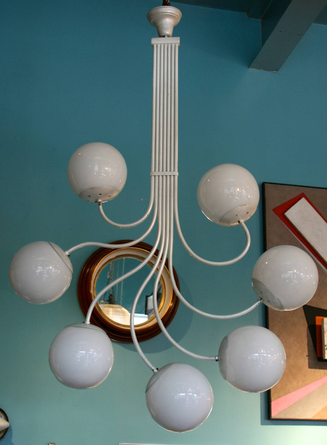 Unusual Italian seven ball light fixture, painted metal and 7 white glass spheres.